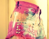 Hot Pink & Peach High Waisted Wrangler Studded Cut Off Denim Shorts M-L