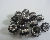 Basketball wives Black & Clear Rhinestone Resin beads 12mm