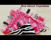Minky Loopy Taggie Blankie Zebra and Pink Glamour