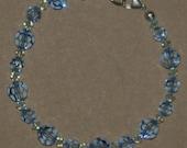 Blue Swarovski Crystal and Sterling Silver Bracelet