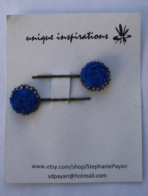 Blue Rose Antique Bronze Bobby Pins