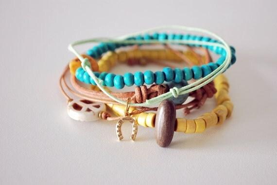 Stacked Bracelets set of five - friendship bracelets - beaded bracelets - black orchid