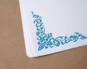 Blue Hand Stamped Floral Letter Paper, Set of Six