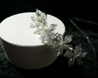 Four Crystal Flower Hair Band