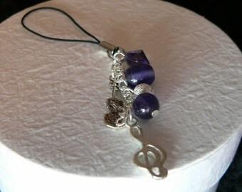 Silver & Purple Music Phone/Handbag Charm