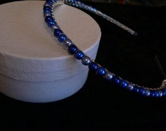 Blue Pearl Bead Tiara Hair Band