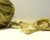 3.2 oz (90g) Mulberry Silk Top Roving OLIVE GREEN - Hand dyed Fiber