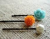 Bobby Pin / Hair Pin (Blue and Orange Set)