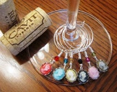 Elegant Cameos Set of 6 Wine Glass Charms
