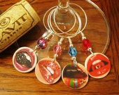 Kiss Me Four Times Wine Glass Charms