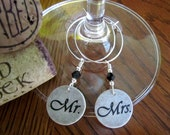 Mr. & Mrs. Wedding Lace Wine Glass Charms - Set of Two