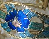 blue cloisonne clamper bracelet