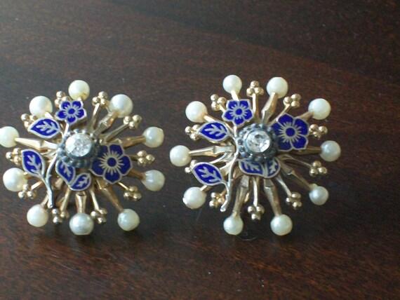 vintage blue french enamel earrings
