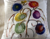 Pillow cover,  silk/wool, handpainted  with a golden touch