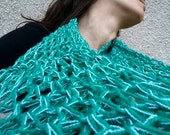 Infinity scarf on sale 50% off Teal/ Turquoise circle scarf OOAK unique loop scarf hand crochet november finds
