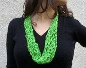 Neon green tiny circle scarf OOAK handmade crochet infinity scarf, ready to ship