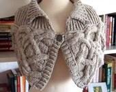 Knitting Pattern-Bodacious Bosom Warmer, knit aran cable shoulder warmer pattern, knit aran cable wrap pattern, PDF pattern