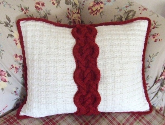 Knitting Pattern-Cable & Tweed Throw Pillow, knit aran cable pillow pattern, for the home, Kraemer Yarns, Naturally Nazareth, PDF pattern