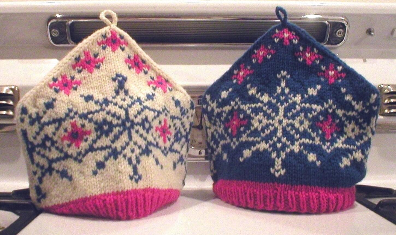 Knitting Pattern Snowflake Tea Cozy, knit Fair Isle tea cozy pattern, Natural...