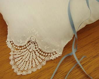 Ring Bearer Pillow, Vintage Lace handkerchief for your Wedding