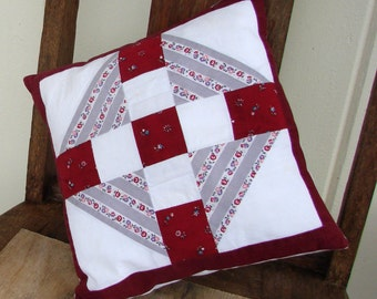 Patchwork Square Pillow, Vintage Fabric, Machine Washable, Burgundy & Gray, Couch, Bed, Chair, Hypo-Allergenic Fill