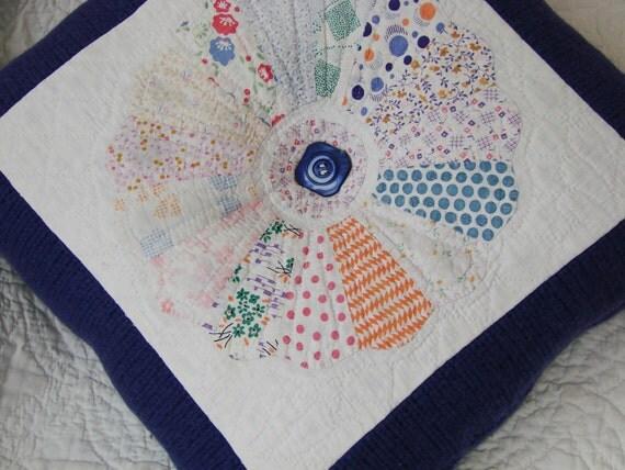 Dresden Plate Quilt Pillow, Purple Sweater Backing, Vintage Button