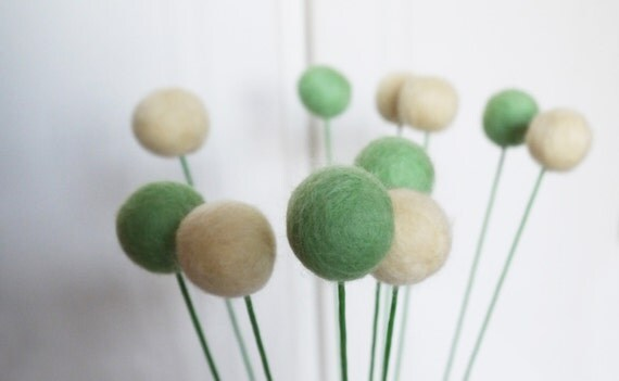 10 Green Pale Yellow Wool Felt Pom Pom Blooms - Billy Ball Flowers - Love Gift For Her Romantic Valentine Wedding Bouquet Floral Arrangement