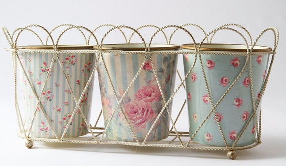 Reserved for S French set of three planters in metal