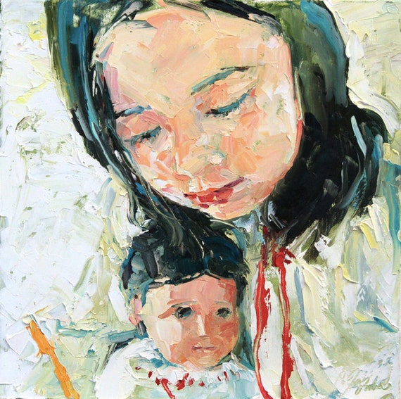 A girl and her doll No.3, limited edition of 50 fine art giclee prints on canvas
