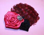 Satin Rosette on feather with bling