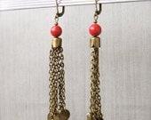 GINGER Tassel Earrings - Coral, day & night wear, all seasons