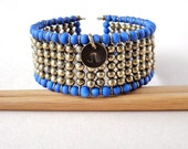 PIXY Blue & Gold Cuff Bracelet. Colorblock bracelet. Navy style. Stackable bracelet