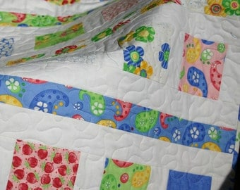 Cheery, Contemporary Baby Quilt in Primary Colors