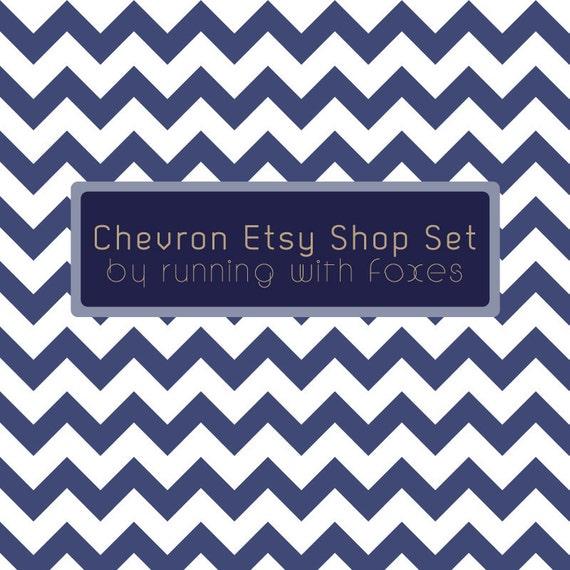 Navy Chevron Stripe Etsy Shop Banner & Avatar Set / Nautical Tan Powder Blue PreMade Graphic Design Zig Zag