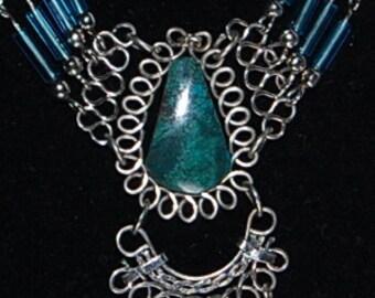 Jade filigree necklace vintage stranded teardrop