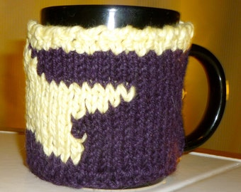 Star cup cozy, purple and yellow