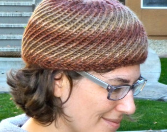 Maroon and taupe spiral lace hat for women