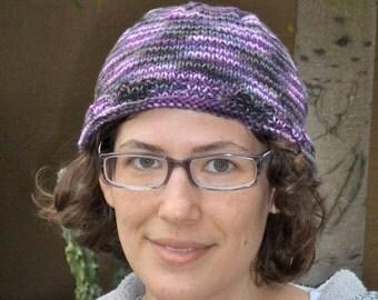 Purple roll brim knit hat for women