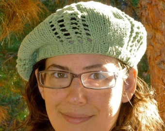 Green lace knit beret for women (75% recycled cotton)