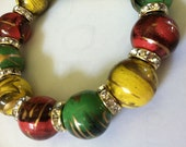 Red Green and yellow beaded Bracelet