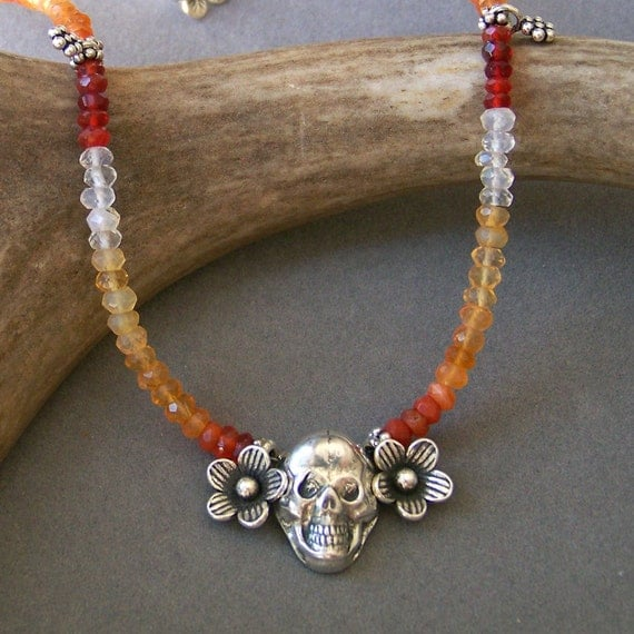Mexican Fire Opal and silver skull necklace honoring Day of the Dead