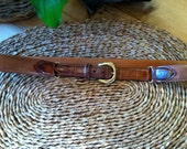 "Trafalgar Handmade Alligator Mens Brown Belt 1988 size 34"" Vintage Ivy league Belt"