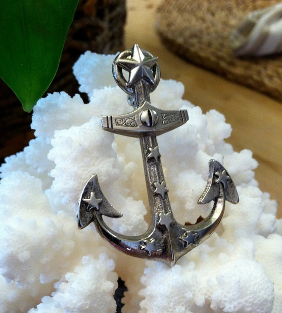 Vintage Retro Nautical Silver Anchor / Sailors  Pin / Brooch / 50's/  Fun Costume Jewelry