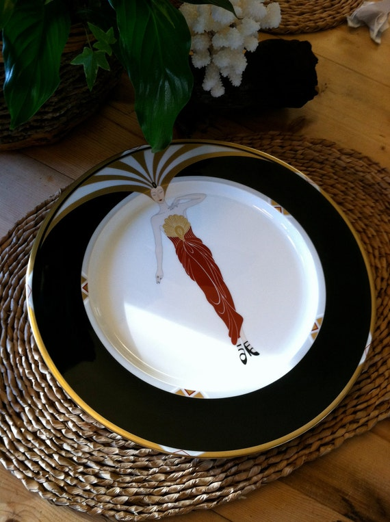 Erte Le Soleil Ebony Collector Plate 1985 Black and Gold