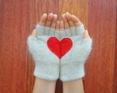 Heart Gloves, Fingerless Light Grey Gloves with Red Felt Heart