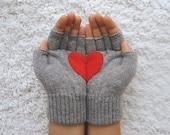 Heart Gloves, Fingerless Grey Gloves with Red Felt Heart
