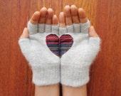 Handful of Heart, Fingerless Light Grey Gloves with Plaid Heart