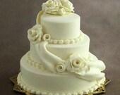 1/12 scale handmade dollhouse miniature Cream Wedding Cake.