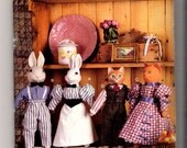Butterick 6187 Create a Duncan Collectible uncut pattern - stuffed cat and rabbit  with clothes