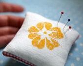 Primrose pincushion - hand printed flower, yellow, spring